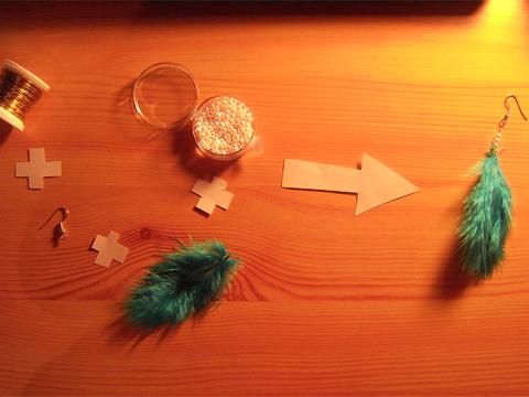 wire + earring blank + feather + pearls -> earring