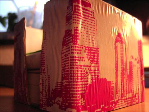 und voilá: Zettelbox mit pinker Skyline