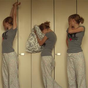 Tag 26: T-shirt von H&M (selbstbedruckt), Kissenbezug IKEA, Hose von Hunkemöller