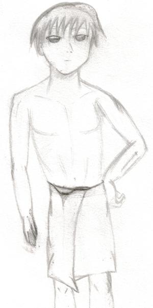 Serafin mit 25: kürzere Haare, wesentlich kräftiger gebaut, Narbe am linken Unterarm