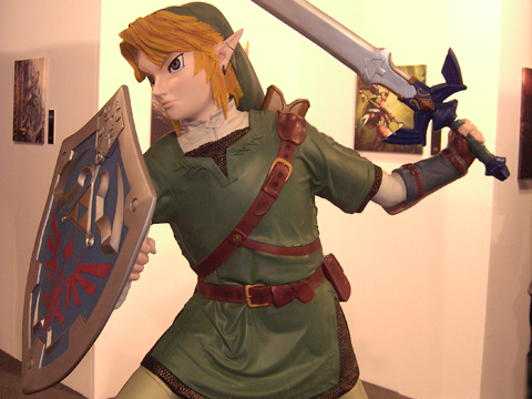 Ausstellung zum Thema Game Art - Hier eine Lebensgroße Linkstatur (Zelda)