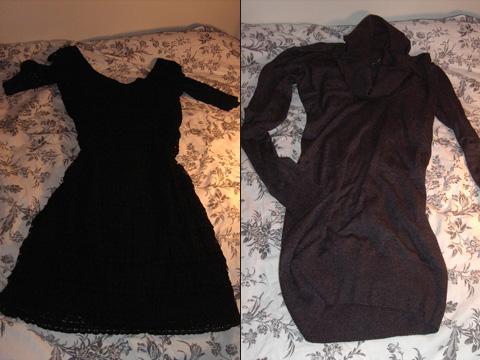 links: Kleid von H&M mit Spitze, rechts: Pullover von H&M