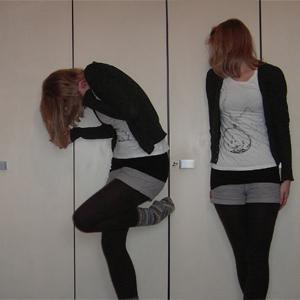 Tag 126: Strickjacke Avanti; T-shirt, Top und Shorts H&M; Strumpfhose unbekannt; Socken selbstgemacht von meiner Mum