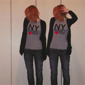 Tag 134: T-shirt H&M (selbstbedruckt), Strickjacke Pimkie, Jeans Mister*Lady (Denim)