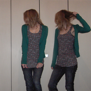 Tag 136: Strickjacke H&M, Top Gina Tricot, Jeans Mister*Lady (Denim)