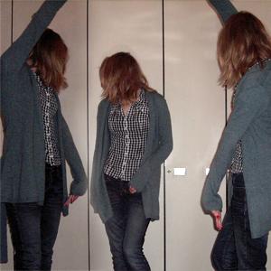 Tag 138: STrickjacke Gina Tricot, Bluse H&M, Jeans Mister*Lady (Denim)