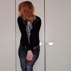 Tag 139: Strickjacke unbekannt, Bluse H&M, Jeans Mister*Lady (Denim)