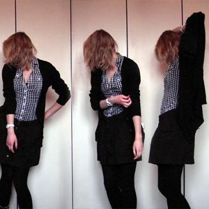 Tag 205 (26.01.2011): Strickjacke und Bluse H&M, Rock Pimkie, Strumpfhose C&A, Uhr Fossil