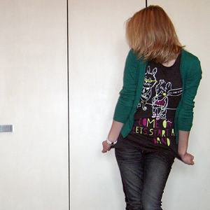 Tag 214: Strickjacke H&M, T-shirt Gina Tricot, Jeans Mister*Lady, Uhr Fossil