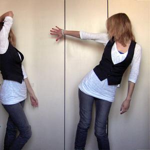 Tag 242: Top und Jeans H&M, Oberteil Vero Moda, Weste Pimkie, Uhr Fossil