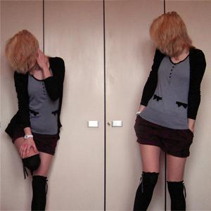 Tag 247 (05.04.2011): Strickjacke Pimkie, Oberteil und Shorts (ich liebe diese Shorts!!!) H&M, Strumpfhose unbekannt, Overknees Primark, Uhr Fossil