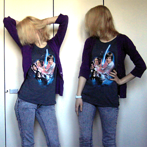 Tag 277: Strckjacke Mister*Lady, T-shirt und Jeans H&M, Uhr Fossil