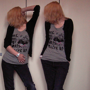 Tag 281: Strickjacke H&M, T-shirt Review, Jeans unbekannt, Uhr Fossil