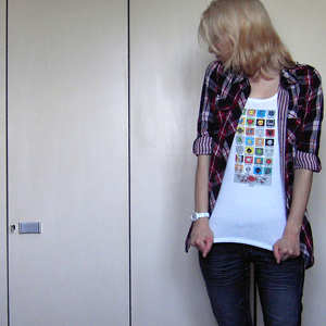 Tag 317: Bluse H&M, T-shirt H&M (selbstbedruckt!), Jeans Mister*Lady, Uhr Fossil