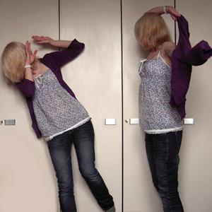 Tag 318: Strickjacke udn Jeans Mister*Lady, Top Pimkie, Uhr Fossil