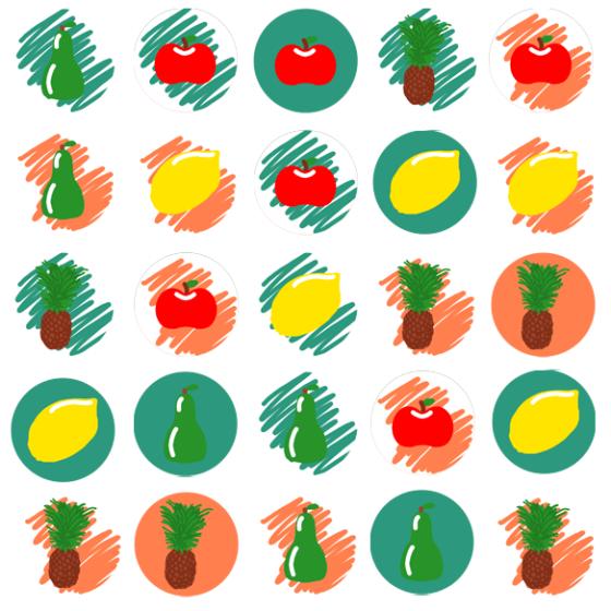 Vorschau für viele bunte Icons mit Früchten drauf