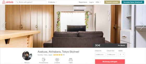 In Toyko gibt es tatsächlich auch preiswerte Zimmer.