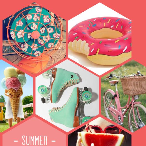 Ventilator, Schwimmring, Eis, Rollerskates, Fahrrad und Wassermelone