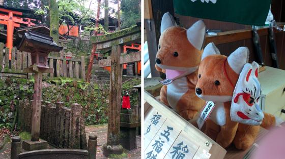 Friedhof des Fushimi Inari-Taisha und das Fuchs-Maskottchen des Tempels.