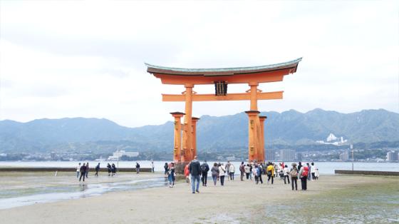 Das berühmte im Wasser stehende Torii von Itsukushima.