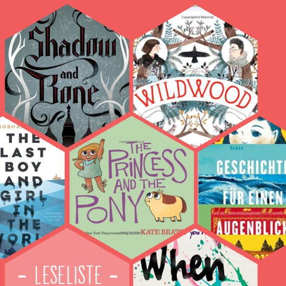 Viele hübsche Buchcover: Shadow and Bone, Wildwood, The Last boy and girl in the world, The princess and the pony, Geschichten für einen Augenblick, When we collide