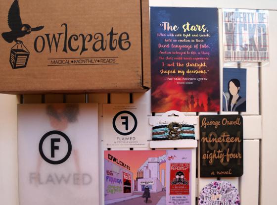 Owlcrate Box: Eine Abobox voller wundervoller Buchdinge. Diesen Monat mit dem Buch Flawed, einen Hunger Games-Armband und Gegenständen zu Shatter Me, Maze Runner und 1984.