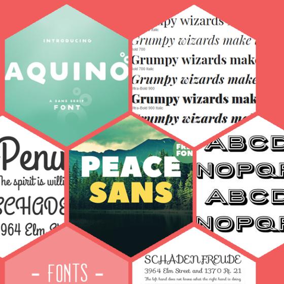 6 kostenlose Schriftarten (Fonts) zum herunterladen: Aquino, Playfair Display, Grand Hotel, Peace Sans, Porter und Sofia.