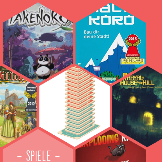 Spiele für den Sommer: Takenoko, Machi Koror, Village, Secret Hitler, Betrayal at house on the Hill und Exploding Kittens.