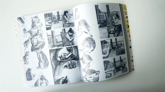 Anpu benutzt für ihren Comic Tusche um über leere Blätter und Katzen zu berichten.