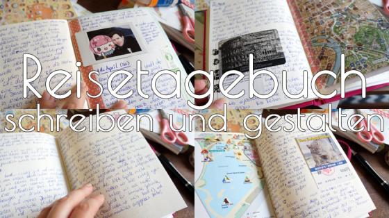 Gestaltetes Reisetagebuch mit Stickern, Polaroids, Andenken, Karten und Washi-Tape.