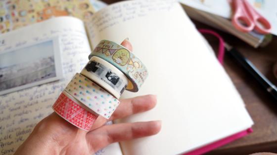 Washi-Tape mit Punkten, Mustern, Kameras und Summigurashi-Motiv