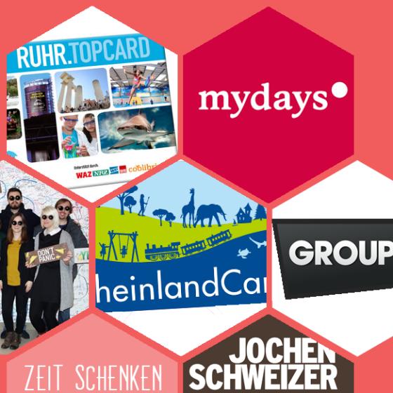 Egal ob Ruhrtopcard, Mydays-Gutschein, Rgeinlandcard, Groupon-Gutschein oder Jochen Schweizer-Abenteuer. Über diese Seiten findet man für jeden das richtige Geschenk.