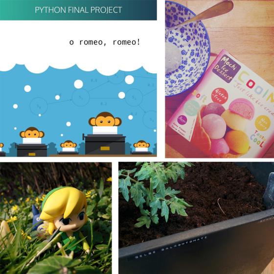 Python-Projekt von Codecadamy, Mochi-Eis, Toon Link und Tomatenpflanzen.