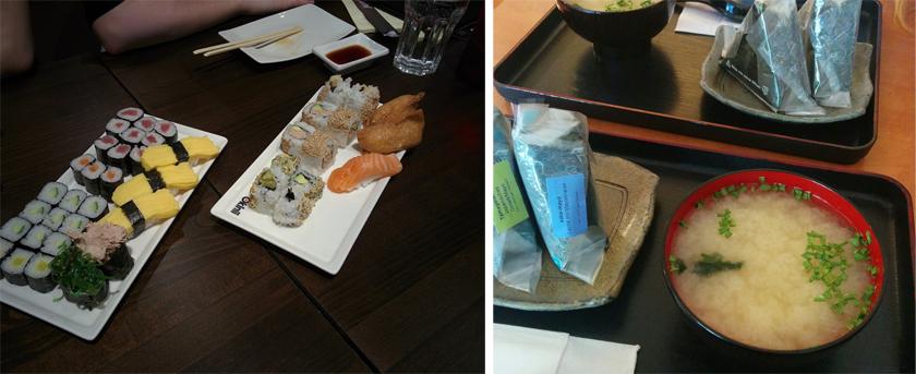 Edeles Sushi und Onigiri als Zwischenmahlzeit.