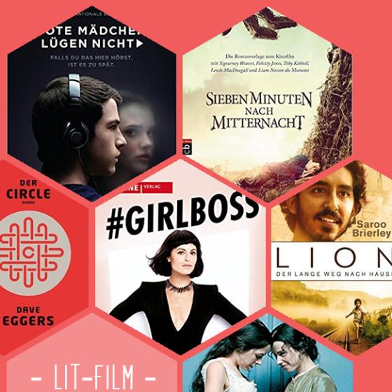 Tote Mädchen lügen nicht, Sieben Minuten nach Mitternacht, The Circle, Girlboss, Lion und Die Taschendiebin sind nur sechs der vielen Literaturverfilmungen die dieses Jahr ins Kino oder zu Netflix kommen.