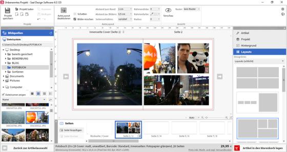 Wenn man erst einmal gefunden hat, wo man in der Software Layouts einstellen kann, kann man recht schnell und einfach ein eigenes Fotobuch gestallten.
