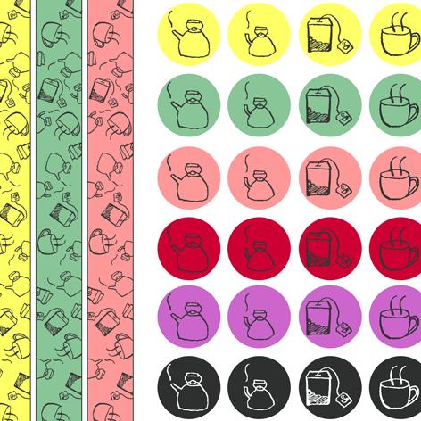 Das zweite DIY-Sticker und Washitapeset besteht aus Icons zum Thema Teatime.