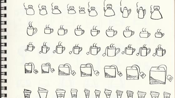 Einige der Tintenvorlagen für das Teatime-Stickerset.