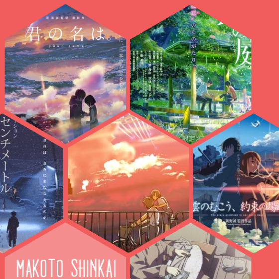 Einige von Makoto Shinkais beeindruckendsten Werken: Your name, Garden of Words, 5 Centimeters per Second, Voices of a distant Star, The Place promised in our early days, She and her cat.