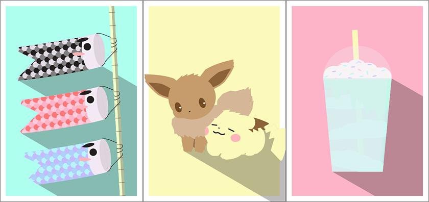 Vorschau von drei Postkarten. Links werden drei Koi-Flaggen untereinander angezeigt. In der Mitte sitzen die Pokémon Evoli und Pikachu nebeneinander. Rechts wird ein Frappuccino in einem Plastikbecher angezeigt.